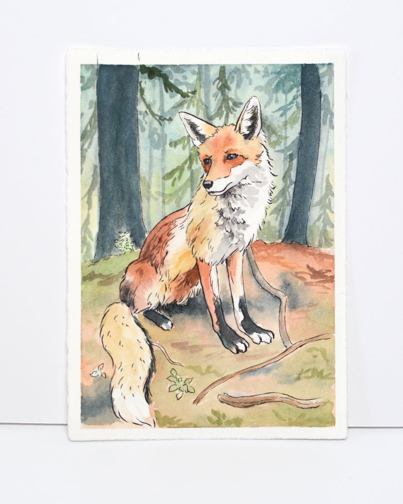 Fox in the Woods - Original Painting - Everhard Designs Nature Art