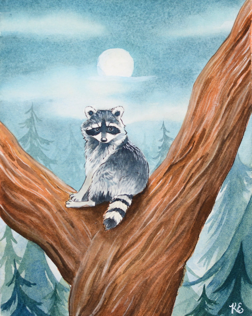 Raccoon in a Tree - Original Painting - Everhard Designs Nature Art