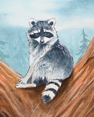 "Raccoon in a Tree - Original Painting - 8x10"" - Everhard Designs Nature Art"