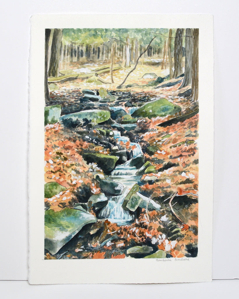 Stream in the Woods - Original Painting - Everhard Designs Nature Art