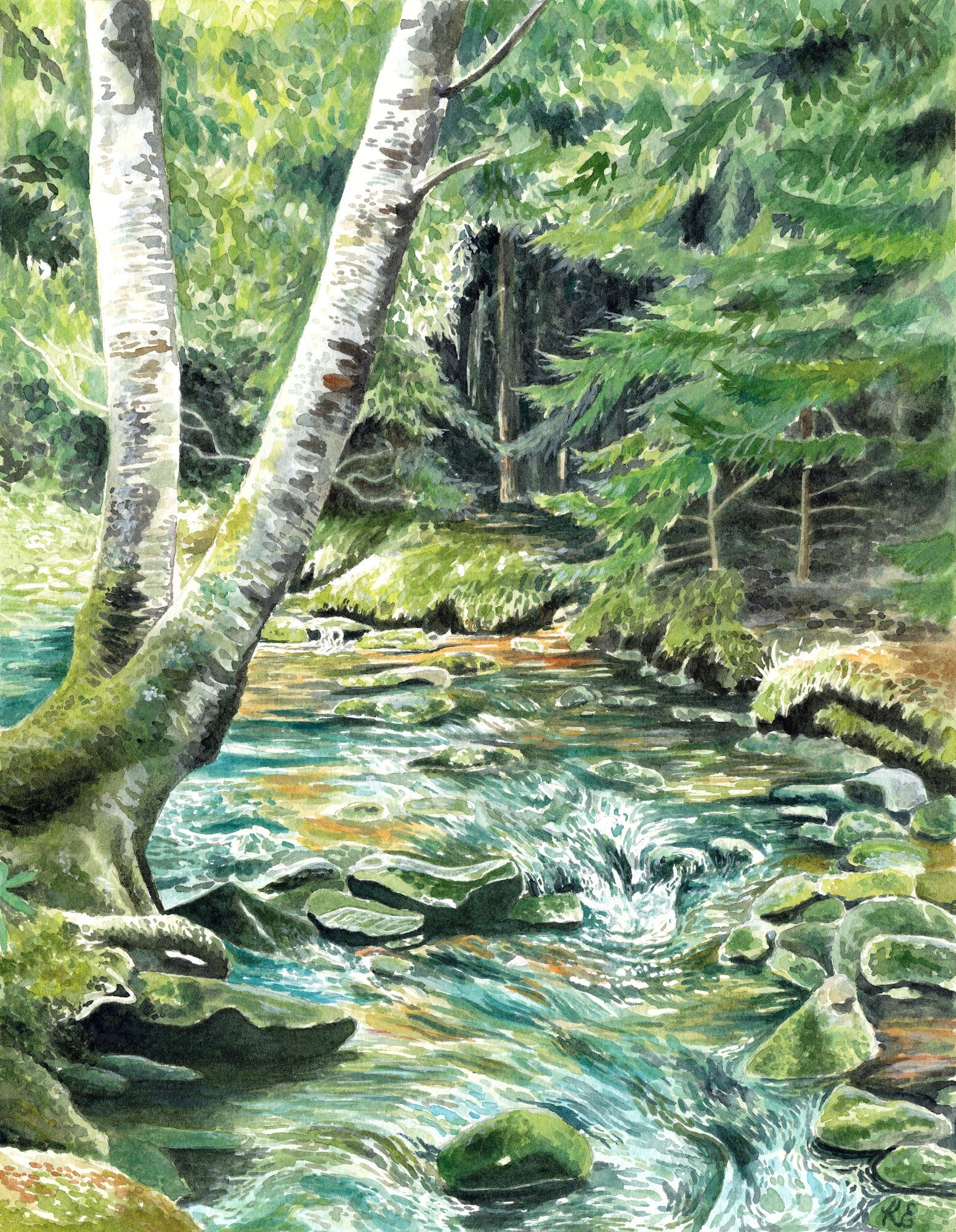 Woodland Serenity - Original Watercolor Painting - Everhard Designs Nature Art