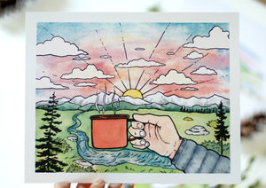 Coffee at sunset - Art Print 8 x 10 - Kim Everhard Art
