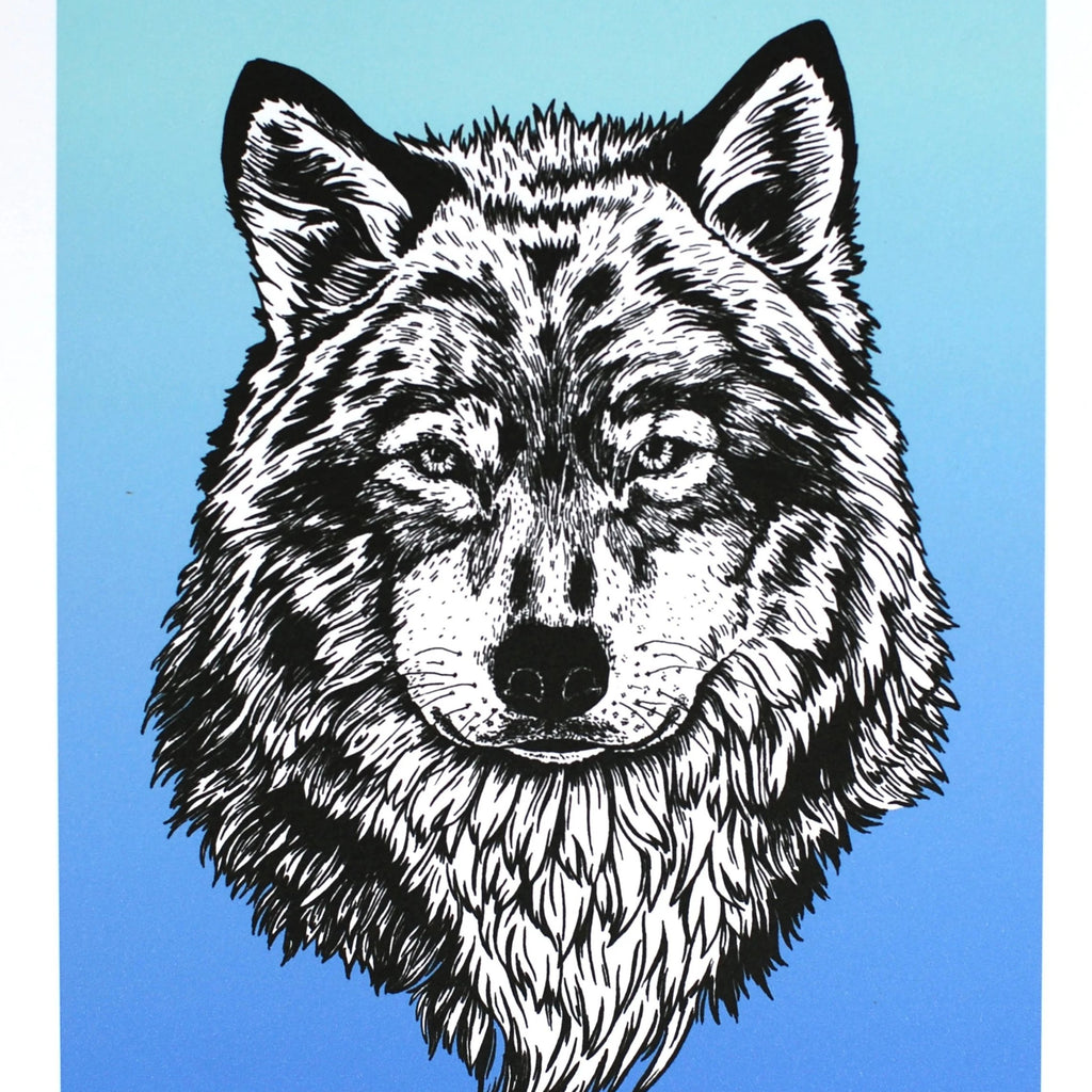 Blue wolf - Art Print 8 x 10 - Everhard Designs Nature Art