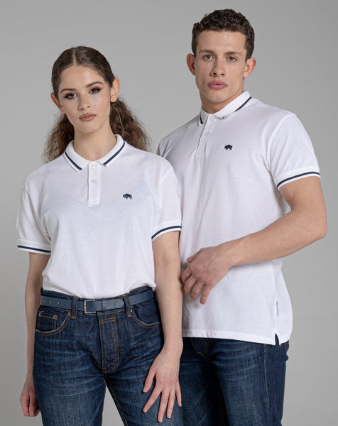 BELLFIELD PINE SHORT SLEEVE UNISEX POLO SHIRT | WHITE