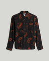 RIMBAUD PAISLEY PRINT LONG SLEEVE MENS SHIRT | BLACK