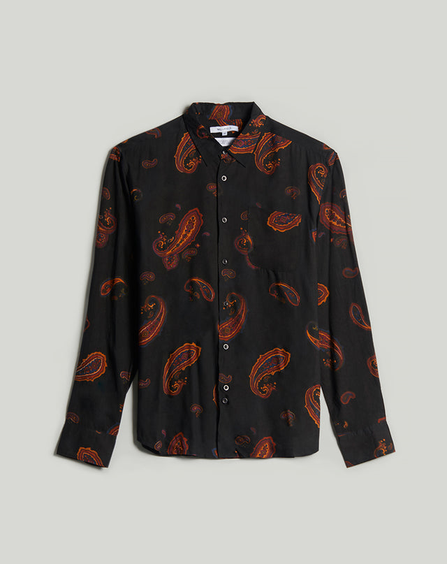 BELLFIELD RIMBAUD PAISLEY PRINT LONG SLEEVE MENS SHIRT | BLACK