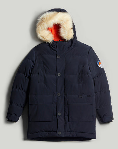 BELLFIELD NAMRU FUR TRIM OVERSIZED MENS MOUNTAIN PARKA  JACKET | NAVY