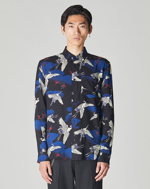 BELLFIELD KYOTO LONG SLEEVE JAPANESE PRINTED MENS SHIRT | BLACK
