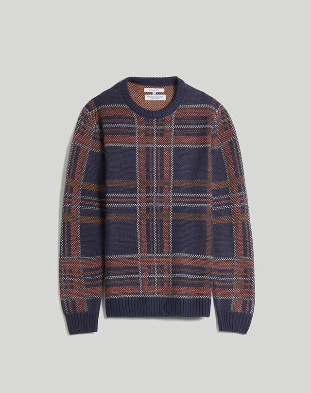 BELLFIELD AUSTEN CHECK KNIT CREW NECK MENS JUMPER | NAVY
