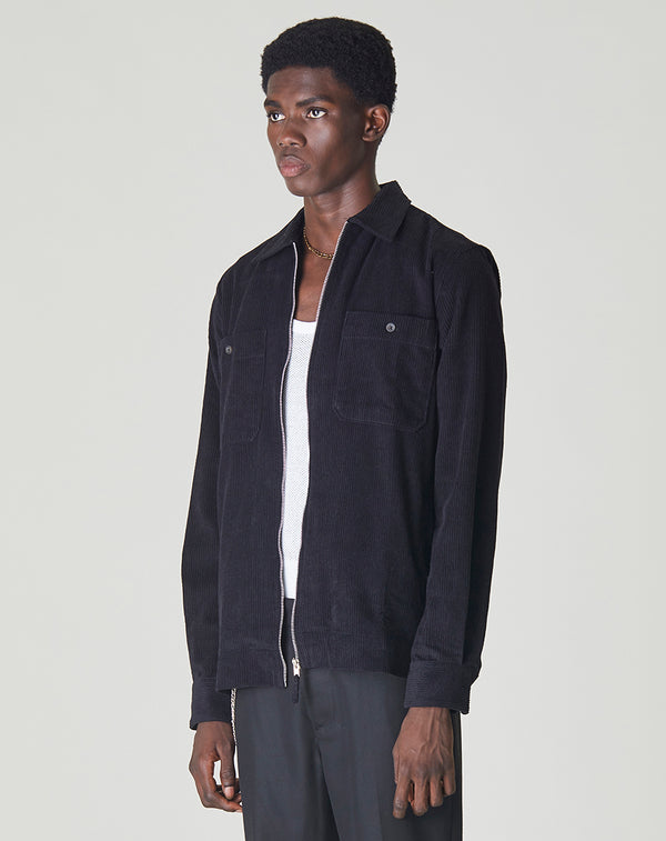 BELLFIELD FRANKLYN CORDUROY MENS OVERSHIRT | BLACK