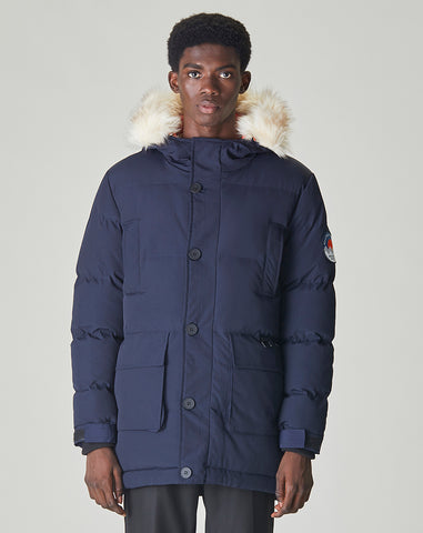 BELLFIELD NAMRU FUR TRIM OVERSIZED MENS MOUNTAIN PARKA | NAVY