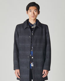 BELLFIELD TROUPE MEN'S CHARCOAL CHECK OVERCOAT | GREY