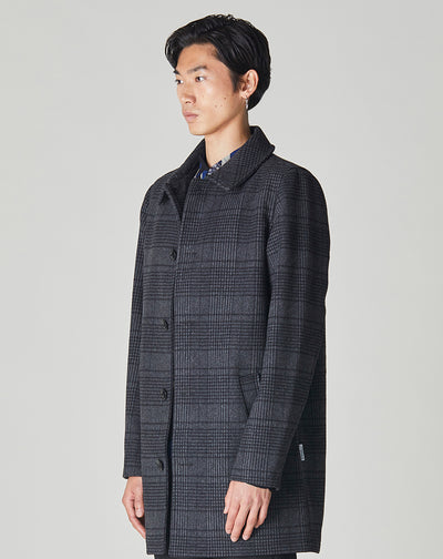 BELLFIELD TROUPE MENS CHARCOAL CHECK OVERCOAT | GREY