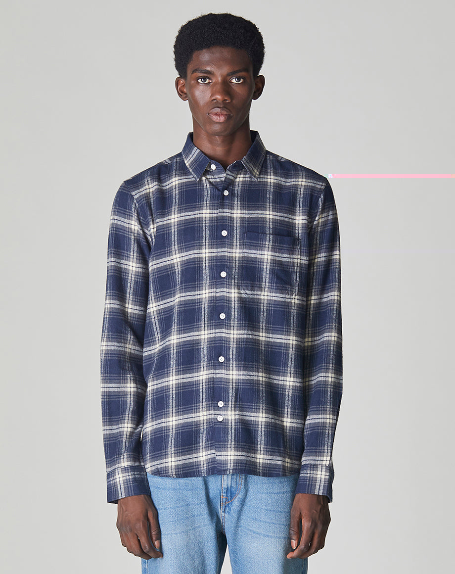 BELLFIELD VALLEGRANDE LONG SLEEVE CHECK MENS SHIRT | NAVY