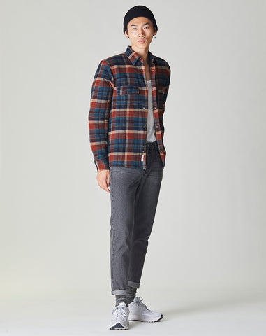 BELLFIELD OMAHA PADDED CHECK MENS OVERSHIRT | NAVY