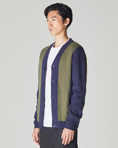 BELLFIELD AFURI WIDE STRIPE MENS KNITTED CARDIGAN | KHAKI & NAVY