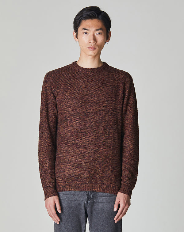 BELLFIELD PAMPASS TWISTED KNIT CREW NECK MEN'S JUMPER | GINGER