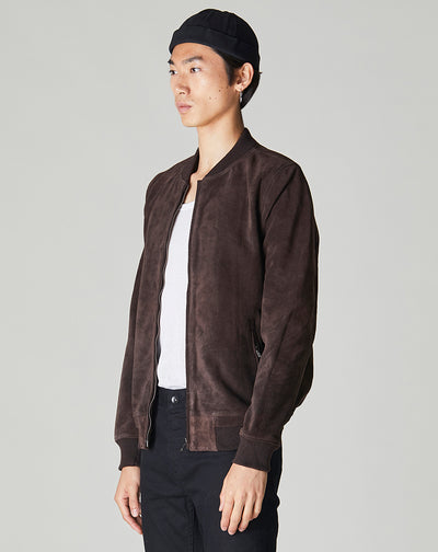 BELLFIELD PLATO SUEDE BOMBER MENS JACKET | BROWN