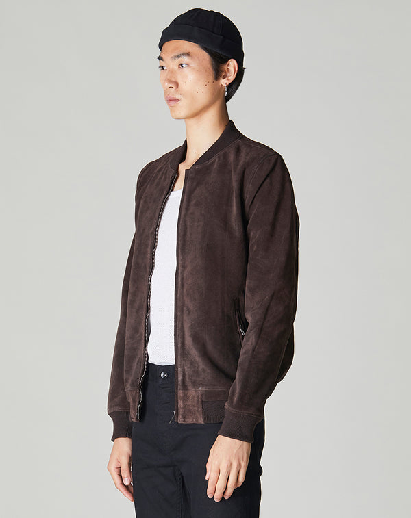 BELLFIELD PLATO SUEDE BOMBER MEN'S JACKET | BROWN