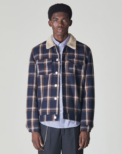 BELLFIELD ALAS CHECK SHERPA COLLARED MENS JACKET | NAVY & GINGER CHECK