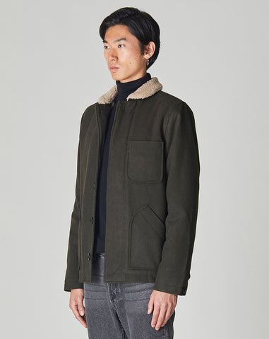 BELLFIELD PORCO MENS N1 SHERPA COLLARED JACKET | KHAKI