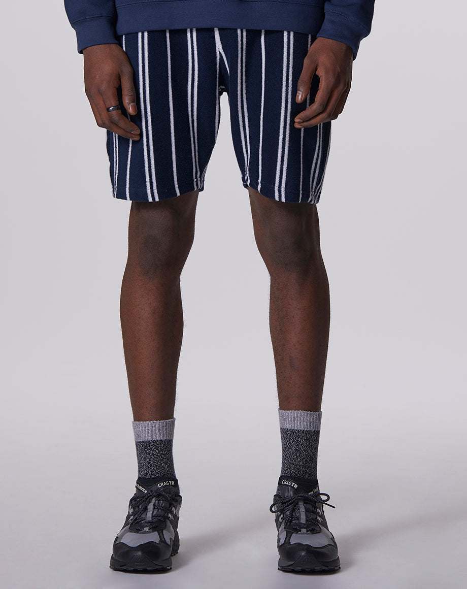 BELLFIELD ARROW STRIPED MENS SHORTS | NAVY