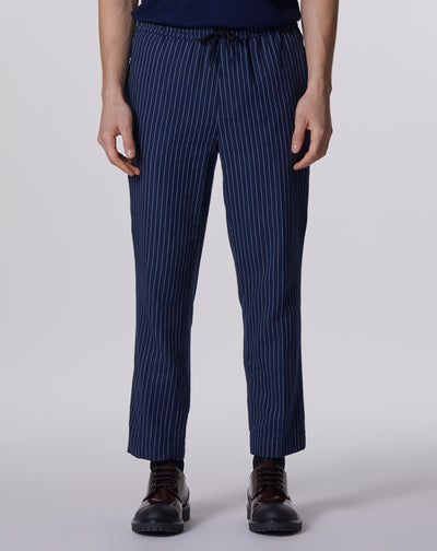 BELLFIELD BARLETTA PINSTRIPE TAPERED TROUSER | NAVY