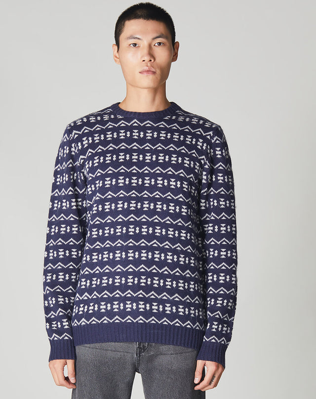 BELLFIELD BERGER FOLK FAIR ISLE KNIT MENS CREW NECK JUMPER | NAVY