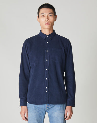 BELLFIELD CAESAR BUTTON DOWN CORDUROY MENS SHIRT | BLUE
