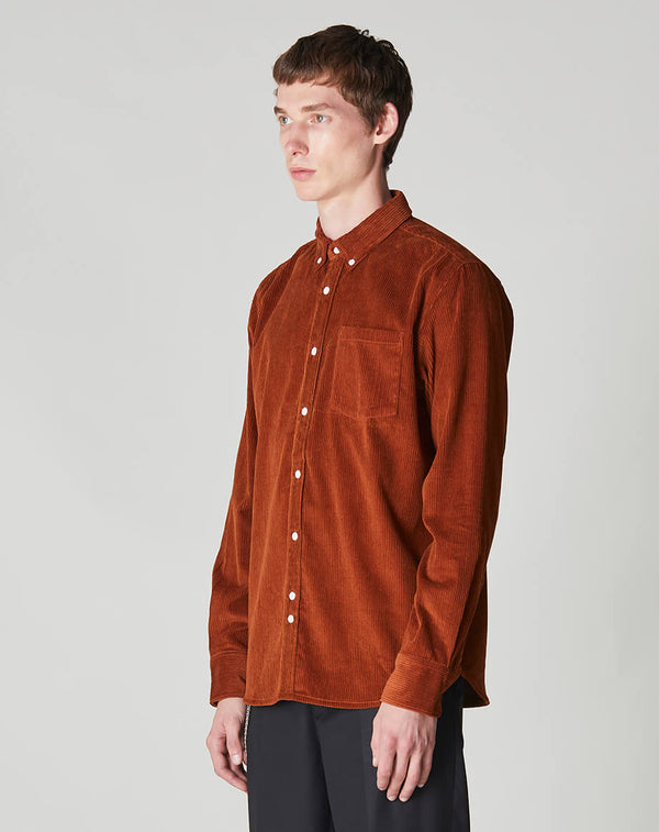 BELLFIELD CAESAR BUTTON DOWN CORDUROY MENS SHIRT | OLD GOLD