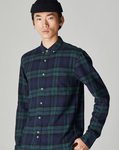 BELLFIELD CEDAR LONG SLEEVE CHECK MENS SHIRT | NAVY