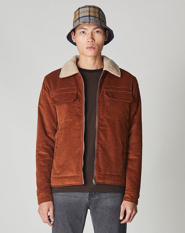 BELLFIELD CHIDO CORD SHERPA COLLARED MEN'S JACKET | GINGER BROWN