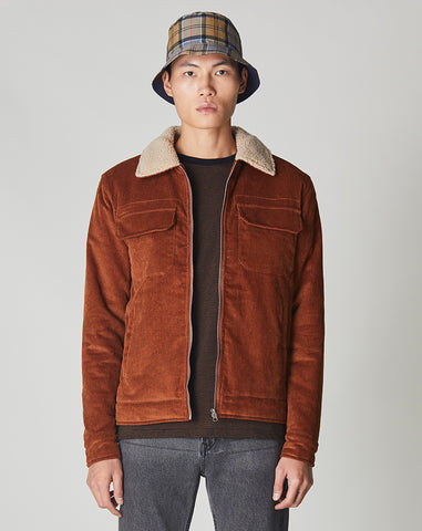 BELLFIELD CHIDO CORD SHERPA COLLARED MENS JACKET | GINGER BROWN