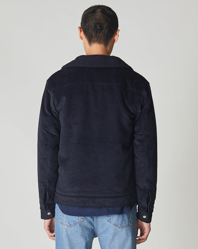 BELLFIELD CHIDO CORD SHERPA COLLARED MENS JACKET | NAVY