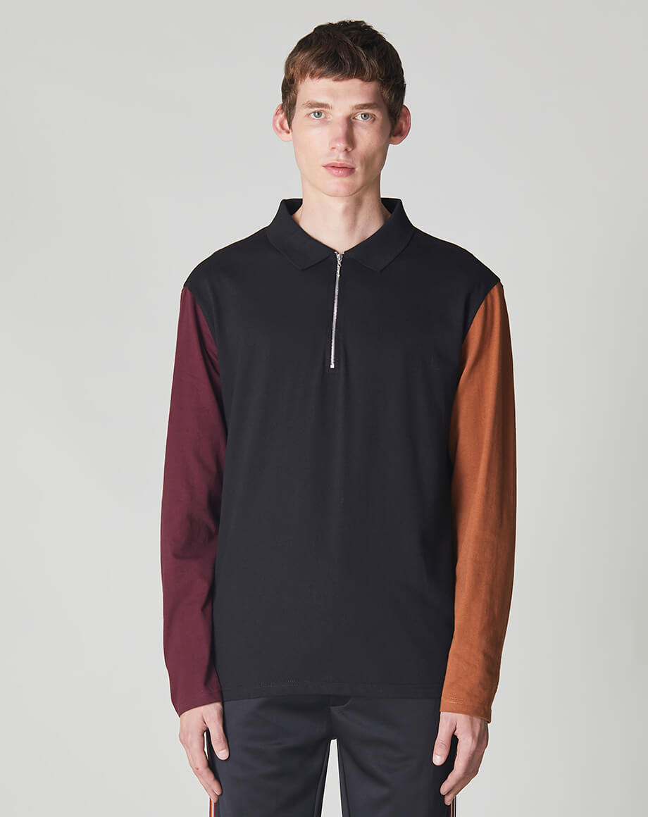 BELLFIELD DELVALE LONG SLEEVE COLOUR BLOCK MENS POLO | BLACK