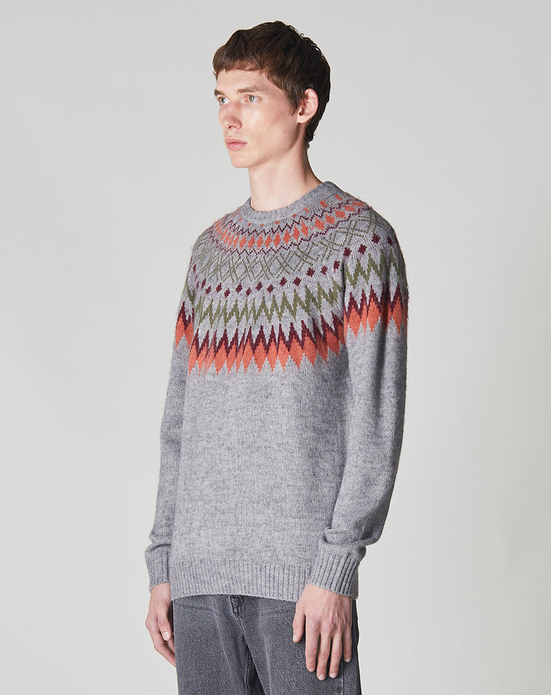 BELLFIELD DRAMMEN CIRCULAR FAIR ISLE KNIT CREW NECK MENS JUMPER | GREY MARL