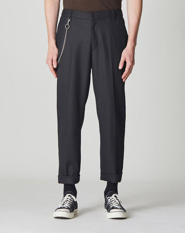BELLFIELD EXETER CROPPED TAPERED KEYCHAIN MENS TROUSERS | BLACK