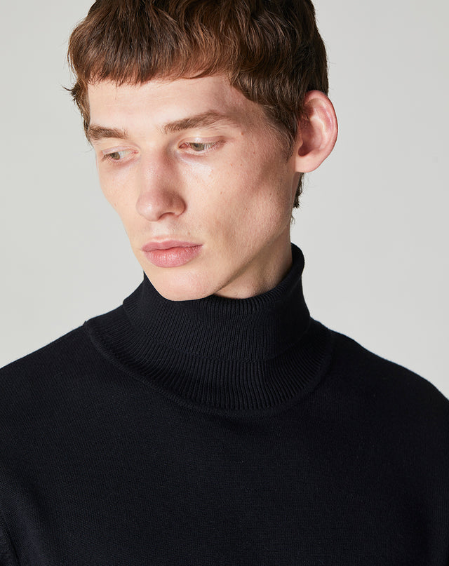 BELLFIELD GARD KNITTED MEN'S ROLL NECK JUMPER | BLACK