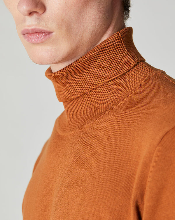 BELLFIELD GARD KNITTED MEN'S ROLL NECK JUMPER | MUSTARD