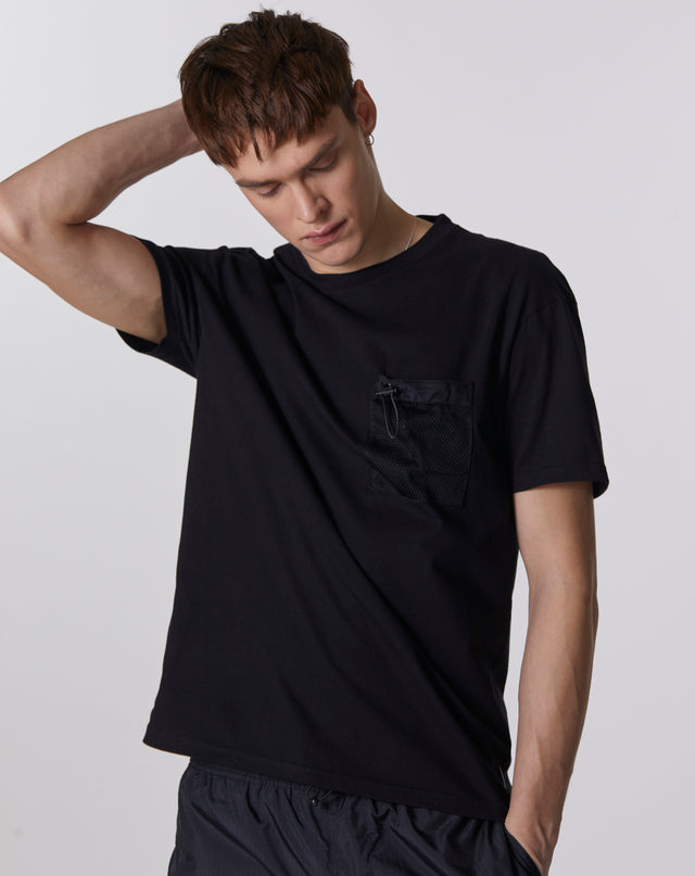 BELLFIELD GENKO MESH UTILITY POCKET MEN'S T-SHIRT | BLACK