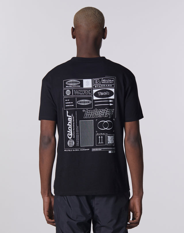 BELLFIELD GLOBAL WORKSHOP PRINTED T-SHIRT | BLACK