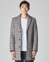 BELLFIELD GODIN CHECK CROMBIE MENS OVERCOAT' | GREY