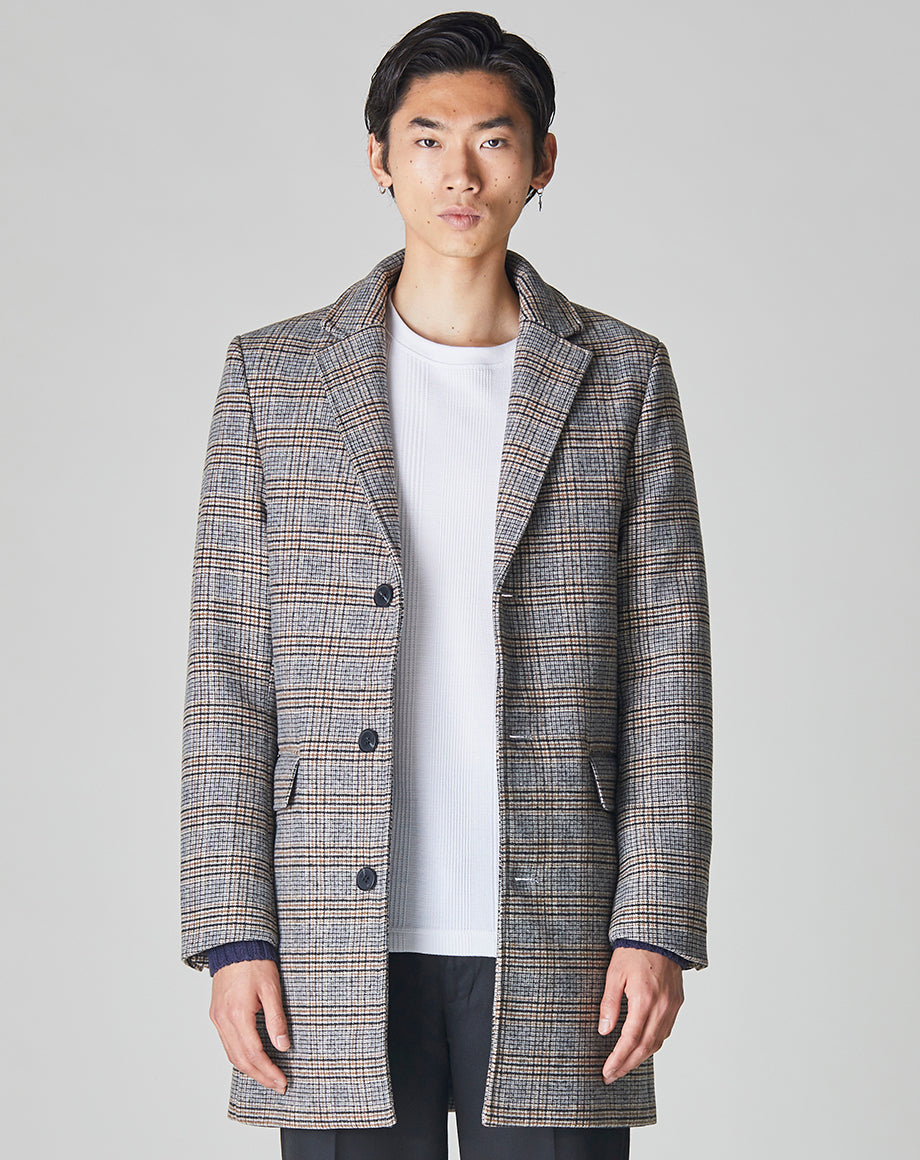 BELLFIELD GODIN CHECK CROMBIE MENS OVERCOAT | GREY