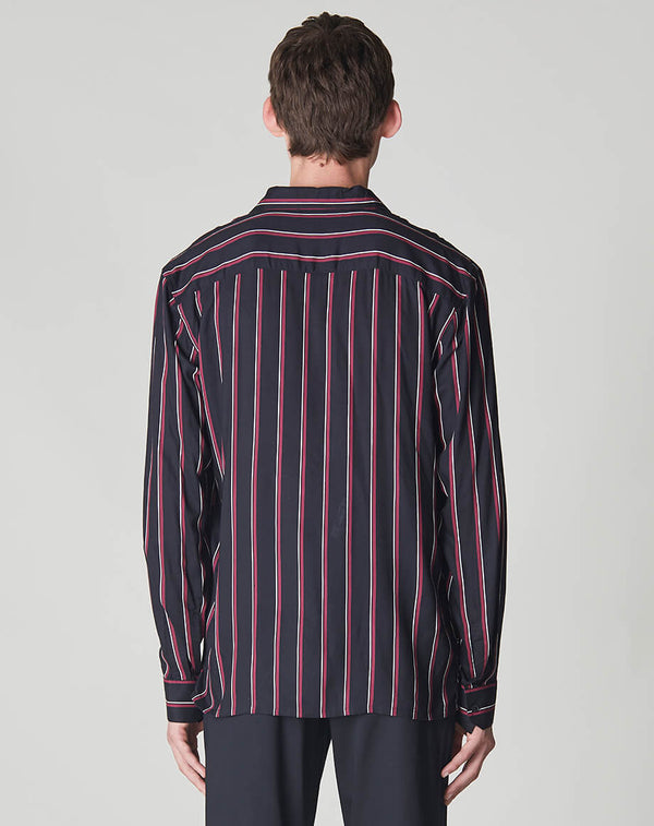 BELLFIELD HOLISTIC STRIPED LONG SLEEVE MENS SHIRT | BLACK