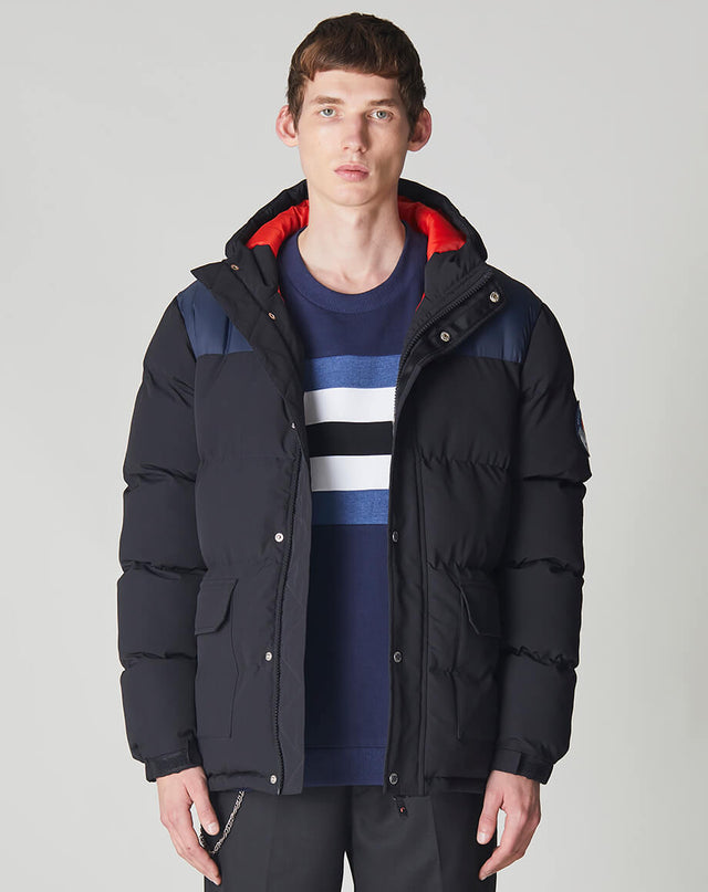 BELLFIELD HORRU COLOUR BLOCK MOUNTAIN MENS PUFFER JACKET | BLACK