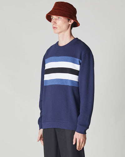 BELLFIELD LEVIE LONG SLEEVE CUT & SEW MENS SWEATSHIRT | NAVY