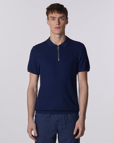 BELLFIELD MATERA TEXTURED ZIP UP MEN'S POLO SHIRT | NAVY