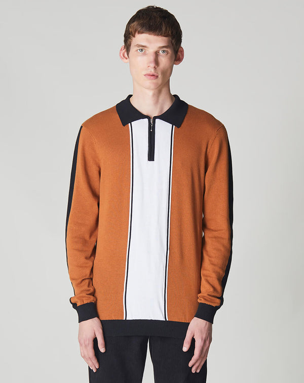 BELLFIELD MCCOY ZIP NECK KNITTED MENS POLO | OLD GOLD