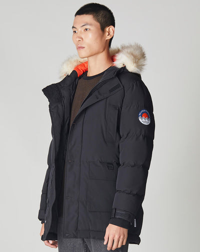 BELLFIELD NAMRU FUR TRIM OVERSIZED MENS MOUNTAIN PARKA JACKET | BLACK