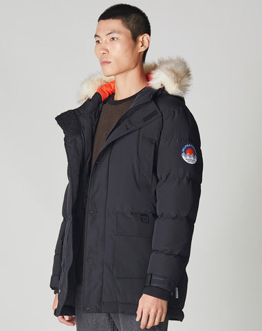 BELLFIELD NAMRU FUR TRIM OVERSIZED MENS MOUNTAIN PARKA | BLACK